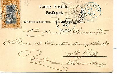 Great Early Belgian Congo U/B Postcard. Used Coquilhatville in Blue 1905. No.10