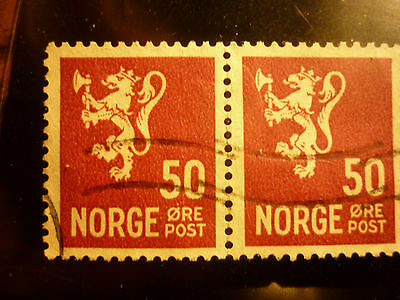 NORWAY stamps 2 HORIZONTAL 50 purple #218 NORGE ore post 2 line cancel RARE