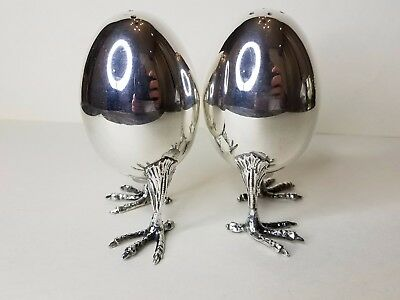 Pair Sterling Silver 925 Art Chicken eggs Salt and Pepper Shakers Not Weighted