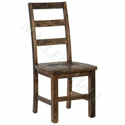 Antique Brown Reclaimed Wood Tall Ladderback Dining Chairs Wood Seat Heavy Chair