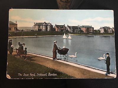 Vintage Postcard SWAN POND STOBSWELL DUNDEE SCOTLAND Posted 1916 (22)