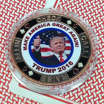 Card Guard -Donald Trump Make America Great Crooked Hillary Poker Chip Free S/h*