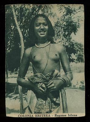 c1925 Colonia Eritrea, Ragazza Bilena, Exotic Period Nude, North Africa Postcard