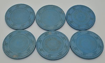 Set of 6 Little Caesar's $1 Casino Chips Las Vegas Nevada H&C Paulson 1970