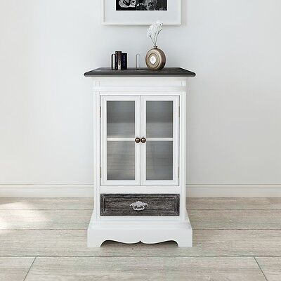 Cabinet 1 Drawer 2 Doors White Wood Cupboard Storage Cabinet High-quality