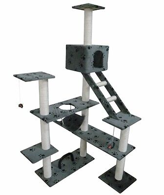 Cat Play Tree Scratcher Post Toy Bed Tower 184 cm Soft Plush Grey Pawprint