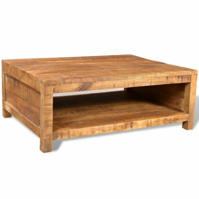 B#Antique-style Solid Mango Wood Coffee Table with Compartment Unique Dining