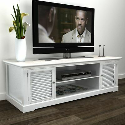 B#Modern Large White Wooden TV Stand Cabinet Home Storage Entertainment Center