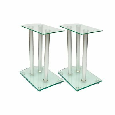 B#Set of 2 Transparent Safety Glass Aluminum Speaker Stands High Quality