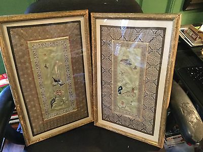 Pair Of Asian Tapastry Panels  *  Mounted And In  Gold Frames   * Beautiful