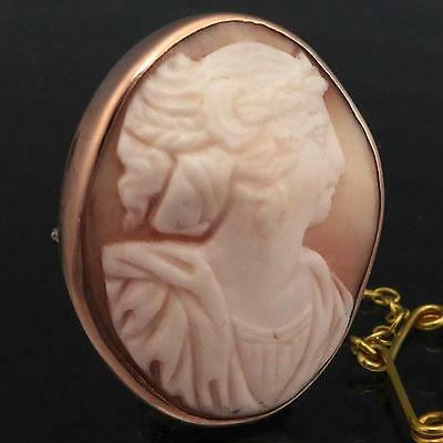 Finer Quality Antique c1890 SOLID 9K ROSE GOLD SHELL CAMEO BROOCH & Safety Chain
