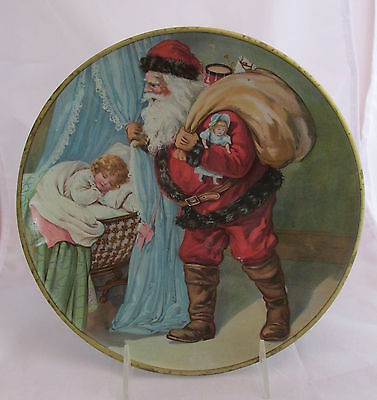 Old Advertising CD Kenny Tin Litho Large Plate Christmas Santa w/ Girl Sleeping