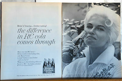 1962 two page magazine ad for Royal Crown Cola, Helen Mann chief missile analyst