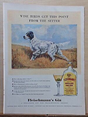 1940 magazine ad for Fleischmann Dry Gin - color illustration of English Setter