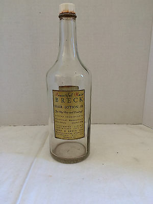 Vintage 1940s Glass Bottle Breck Lotion Shampoo for Oily Hair- Salon Display
