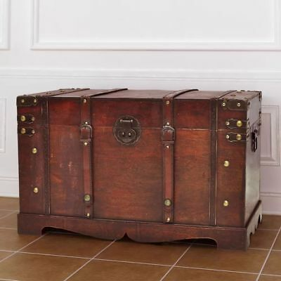 Vintage Large Woodedn Treasure Chest Travel Chunk
