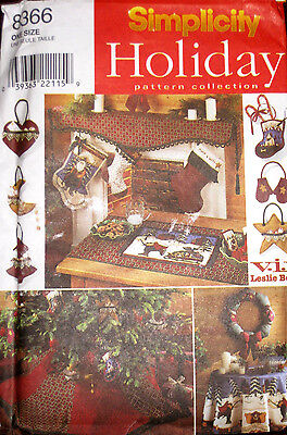 Simplicity Christmas Tree Skirt Ornaments Stockings Table Runner Pattern 8366 UC