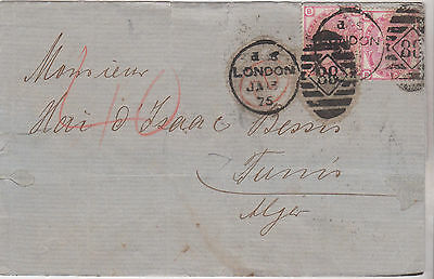 1875 QV LONDON WRAPPER WITH FINE PAIR OF 3d ROSE STAMPS PLATE 15 USED IN ITALY