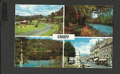 Vintage Multi View Colour Postcard Crieff Perthshire Scotland Posted 1971