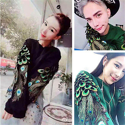 Embroidery Peacock Feather Wing Patches Iron-on Patch Applique Badge DIY Craft