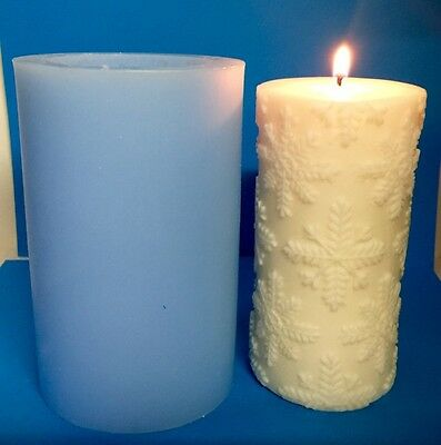 Snowflake (LARGE) Pillar Silicone Candle MOULD/MOLD  Size 14.5cm x 7cm -