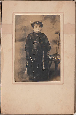 Antique Photo / Young Girl in Kimono / Japanese / c. 1920s