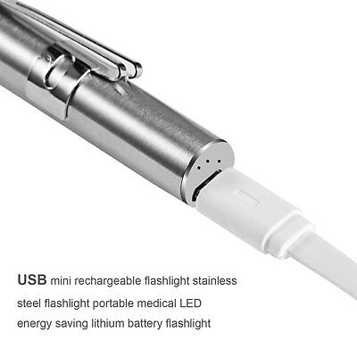 Medical Handy Pen Shaped USB Rechargeable Flashlight LED Torch with Clip SXRAU