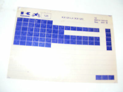 Kawasaki  Kx125 L4  Parts Catalogue    (Microfiche)