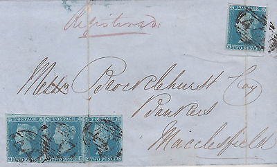 1851 QV RARE LEEDS BANK WRAPPER WITH FOUR 2d BLUE IMPERF STAMPS SG14 CAT £1400