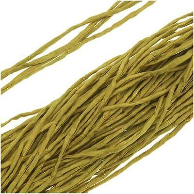 Silk Fabric String, 2mm Diameter, 42 Inches Long, 1 Strand, Light Olive Green
