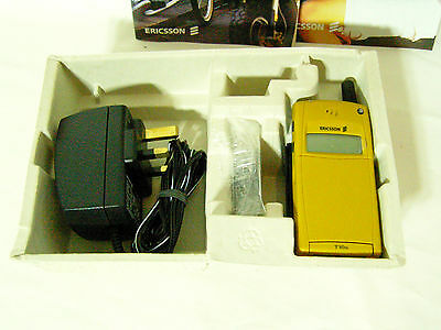 Vintage Ericcson T10S Mobile Phone in Mustard - unused and boxed