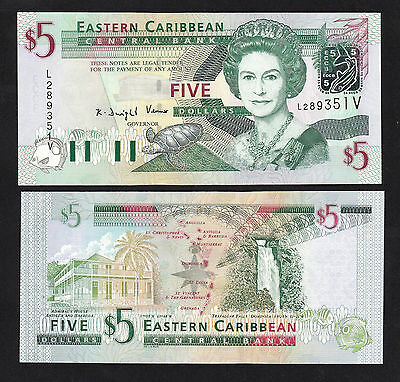 Eastern Caribbean 5 Dollars (2003) St. Vincent P42v Queen banknote - UNC