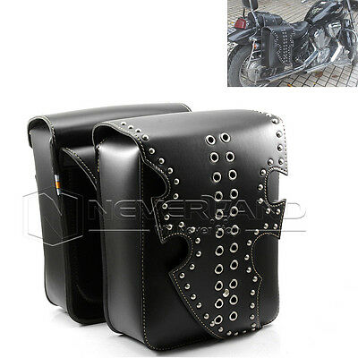 Black Motorcycle PU Leather Side Pannier Saddle Bag For Harley Sportster Touring