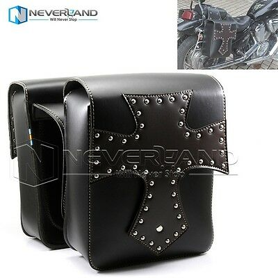 2X Black Motorcycle PU Leather Side Bag Saddle Luggage For Harley Custom Cruiser