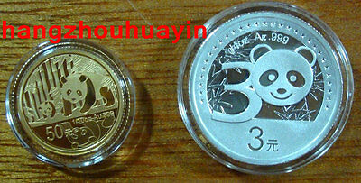 2012 2 pcs 30th anniversary of China panda gold coin issued silver gold coins