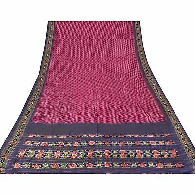 Sanskriti Vintage Indian Saree Woven Patola Sari Fabric Pure Silk Soft Pink