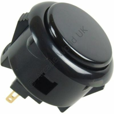 1 x Genuine Black Sanwa OBSF-30 Snap In Arcade Button - 30mm Mounting Hole