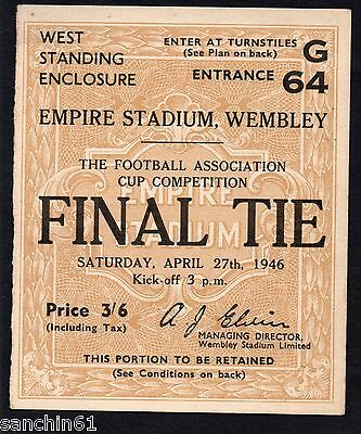 Derby County V Charlton , Original 1946 Fa Cup Final Ticket Stub,