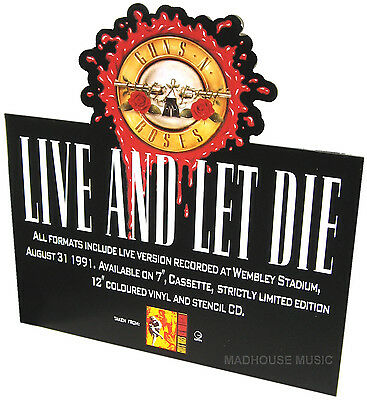 GUNS N ROSES Live And Let Die UK PROMO Only Standee DISPLAY SHAPED Rare