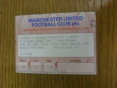 05/01/1993 Ticket: Manchester United v Wigan Athletic Or Bury [FA Cup] (folded,