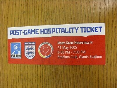 31/05/2005 Ticket: In America, Colombia v England [At Giants Stadium] Post Game