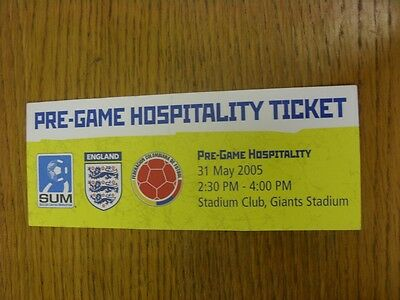 31/05/2005 Ticket: In America, Colombia v England [At Giants Stadium] Pre Game H