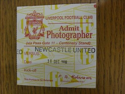 28/12/1998 Ticket: Liverpool v Newcastle United [Photographer] . We try and insp
