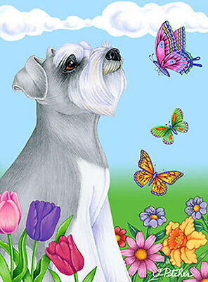 Large Indoor/Outdoor Butterfly (TP) Flag - Uncropped Grey Schnauzer 98140