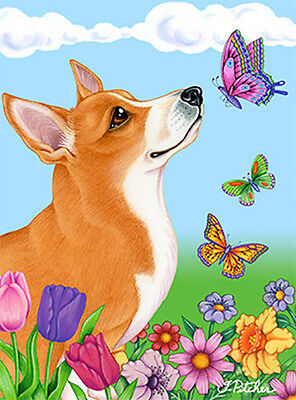Large Indoor/Outdoor Butterfly (TP) Flag - Pembroke Welsh Corgi 98045