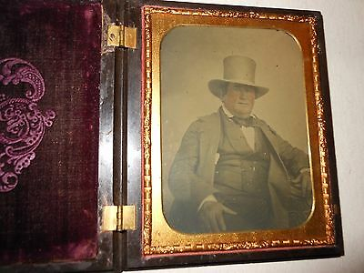""""""" Man in  Top Hat """" 1/2 Plate  Ambrotype - Thermoplastic Case"""