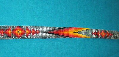 "Beaded Hatband Geometric Cowboy Cowgirl Western 20x5/8"" + leather ties  #08"