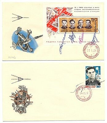 RUSSIA  1968 2 COVERS SIGNED BY COSMONAUTS (5 x) + CERTIFICATE   VF
