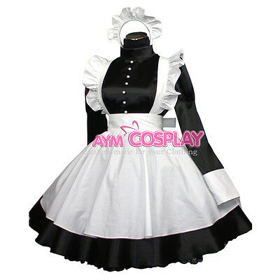 Satin lockable french sissy maid dress  pearl button Unisex Tailor-made [G406]