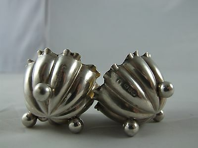 Pair fluted silver salts English Hallmark Birmingham 1916 doll house miniature